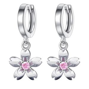 STERLING SILVER Pink Flower Earrings